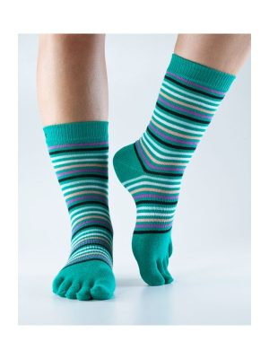 Toesox Casual Retro Emerald Stripe