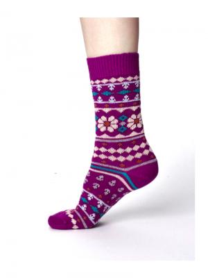 Vlnené ponožky Viktoir fialové